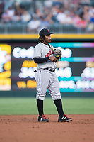 Indianapolis Indians shortstop Gift Ngoepe (17) on defense against the Charlotte Knights at BB&T BallPark on June 16, 2017 in Charlotte, North Carolina.  The Knights defeated the Indians 12-4.  (Brian Westerholt/Four Seam Images)