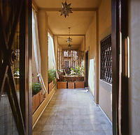 The marble-tiled terrace approach to the front door of Karl Lagerfeld's erstwhile apartment in Rome