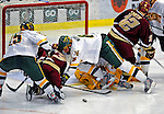 10 January 2009: University of Vermont Catamount defensemen Kyle Medvec (6), a Sophomore from Burnsville, MN, dives to defend the net against the Boston College Eagles during the second game of a weekend series at Gutterson Fieldhouse in Burlington, Vermont. The Catamounts rallied from an early 2-0 deficit to defeat the visiting Eagles 4-2. Mandatory Photo Credit: Ed Wolfstein Photo