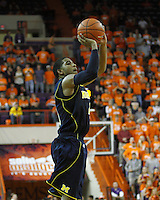 Nov 30, 2010; Clemson, SC, USA; Michigan Wolverines Darius Morris (4) shoots a three pointer in the game against the Clemson Tigers at Littlejohn Coliseum. Mandatory Credit: Daniel Shirey/WM Photo -US PRESSWIRE