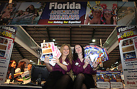 ***NO FEE PIC***.28/01/2011.Denise Breen & Erica O' Reilly from American holidays stall as part of the USA stalls during the Holiday World Show in the RDS which runs from Friday 28th Jan - Sunday 30th Jan, Dublin..Photo: Gareth Chaney Collins