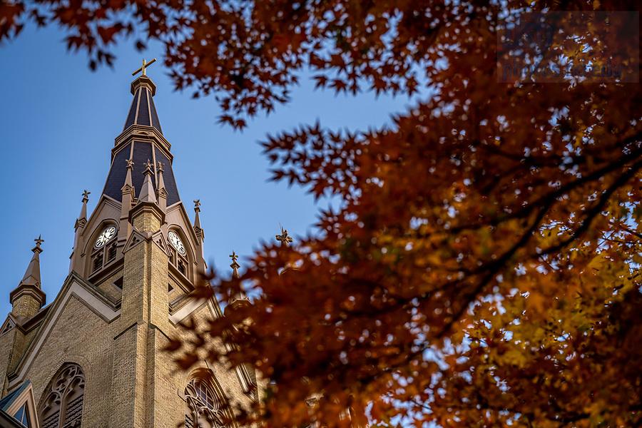 November 8, 2020; Steeple of the Basilica of the Sacred Heart (Photo by Matt Cashore/University of Notre Dame)