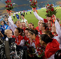 The USWNT is interviewed by NBC after  playing for the gold medal at Workers' Stadium.  The USWNT defeated Brazil, 1-0, during the 2008 Beijing Olympics women's soccer final in Beijing, China.