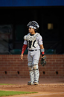 Jacksonville Jumbo Shrimp catcher Rodrigo Vigil (1) during a Southern League game against the Mobile BayBears on May 7, 2019 at Hank Aaron Stadium in Mobile, Alabama.  Mobile defeated Jacksonville 2-0.  (Mike Janes/Four Seam Images)