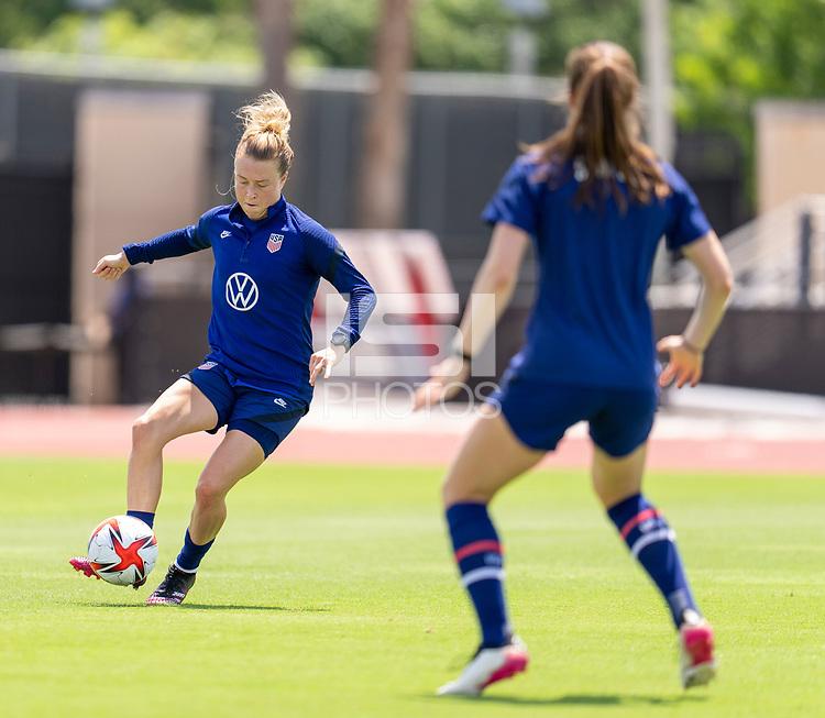 HOUSTON, TX - JUNE 8: Emily Sonnett #14 of the USWNT passes the ball during a training session at the University of Houston on June 8, 2021 in Houston, Texas.