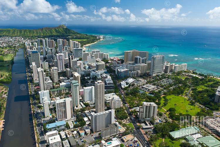 Aerial view of Waikiki looking down the Ala Wai Canal
