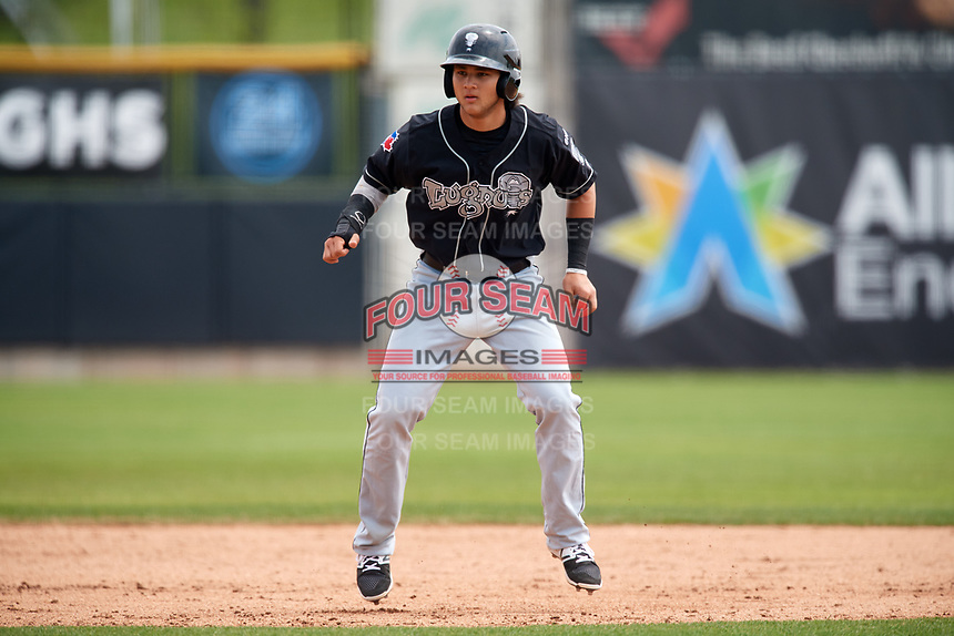 Lansing Lugnuts designated hitter Bo Bichette (10) leads off during a game against the Clinton LumberKings on May 9, 2017 at Ashford University Field in Clinton, Iowa.  Lansing defeated Clinton 11-6.  (Mike Janes/Four Seam Images)