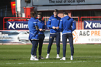 3rd April 2021; Dens Park, Dundee, Scotland; Scottish FA Cup Football, Dundee FC versus St Johnstone; St Johnstone players inspect the pitch before the match