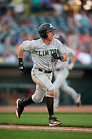 Clinton LumberKings Peyton Burdick (27) runs to first base during a Midwest League game against the Great Lakes Loons on July 19, 2019 at Dow Diamond in Midland, Michigan.  Clinton defeated Great Lakes 3-2.  (Mike Janes/Four Seam Images)