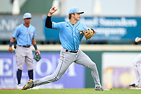 FCL Rays shortstop Tanner Murray (53) throws to first base during a game against the FCL Pirates Gold on July 26, 2021 at LECOM Park in Bradenton, Florida. (Mike Janes/Four Seam Images)