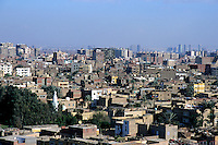 View of cityscape from Giza, with the suburb of Nazlet and Samaan District visible, Cairo, Egypt.