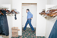 Texas senator and Republican presidential candidate Ted Cruz leaves a private area to speak at a town hall at The Alpine Grove banquet center in Hollis, New Hampshire.