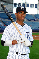 Tampa Yankees second baseman Angelo Gumbs #13 poses for a photo before a game against the Lakeland Flying Tigers at Steinbrenner Field on April 6, 2013 in Tampa, Florida.  Lakeland defeated Tampa 8-3.  (Mike Janes/Four Seam Images)
