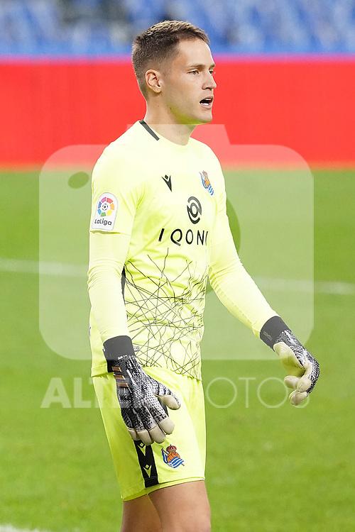 Real Sociedad's Alejandro Remiro during La Liga match. October 3, 2020. (ALTERPHOTOS/Acero)