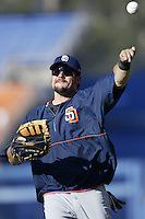 Ryan Klesko of the San Diego Padres throws before a 2002 MLB season game against the Los Angeles Dodgers at Dodger Stadium, in Los Angeles, California. (Larry Goren/Four Seam Images)