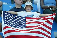 17 August 2004:   USA Fan celebrate USWNT against Australia at Kaftanzoglio Stadium in Thessaloniki, Greece.     USA tied Australia at 1-1.   Credit: Michael Pimentel / ISI