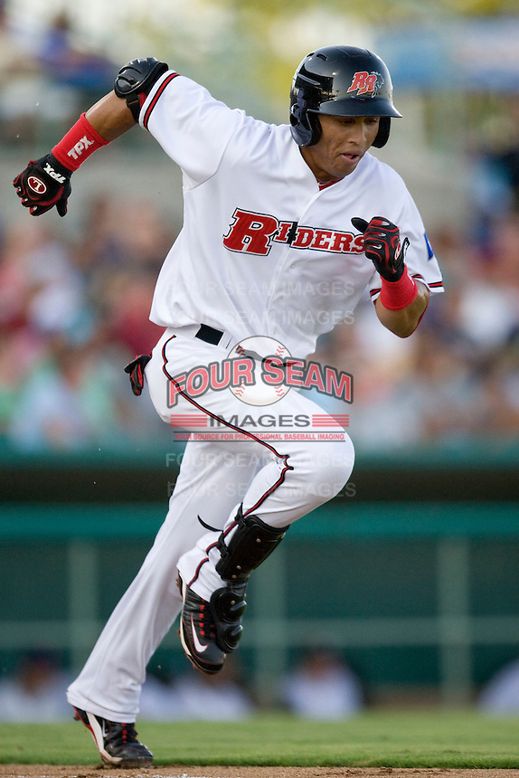 Frisco Roughriders outfielder Leonys Martin #20 heads to first during the Texas League All Star Game played on June 29, 2011 at Nelson Wolff Stadium in San Antonio, Texas. The South All Star team defeated the North All Star team 3-2. (Andrew Woolley / Four Seam Images)