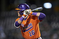 Bo Majkowski (16) of the Clemson Tigers at bat against the Charlotte 49ers at BB&T BallPark on March 26, 2019 in Charlotte, North Carolina. The Tigers defeated the 49ers 8-5. (Brian Westerholt/Four Seam Images)