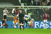 Issa Diop of West Ham United heads wide during West Ham United vs Fulham, Premier League Football at The London Stadium on 22nd February 2019