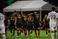 LAKE BUENA VISTA, FL - JULY 23: Houston Dynamo celebrates a goal during a game between Los Angeles Galaxy and Houston Dynamo at ESPN Wide World of Sports on July 23, 2020 in Lake Buena Vista, Florida.