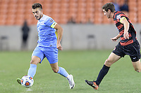 Houston, TX - Friday December 9, 2016: Colton Storm (6) of the North Carolina Tar Heels brings the ball up the field against the Stanford Cardinal at the NCAA Men's Soccer Semifinals at BBVA Compass Stadium in Houston Texas.