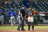 AZL Giants catcher Andres Angulo (1) argues a called ball four by home plate umpire Pete Talkington that allowed Delvin Zinn to score from third during Game Three of the Arizona League Championship Series against the AZL Cubs on September 7, 2017 at Scottsdale Stadium in Scottsdale, Arizona. AZL Cubs defeated the AZL Giants 13-3 to win the series two games to one. (Zachary Lucy/Four Seam Images)