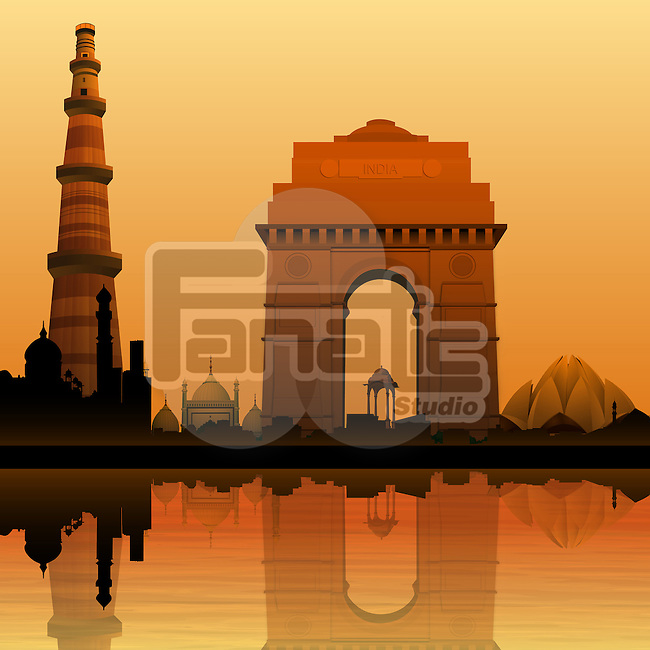 Montage of monuments at riverbank, New Delhi, India