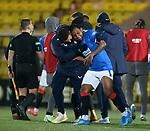 03.03.2021 Livingston v Rangers: Rangers captain James Tavernier comes down from the stands to hug Alfredo Morelos at full time