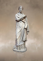 Ancient Greek funerary statue of a women, type Small Herculaneum Woman style. From Delos circa 2nd Cent BC. Athens National Archaeological Museum. Cat No 1827<br /> <br /> This marble statue from Delos shopws a women wearing a full length chiton and a himation that covers her entire body and arms. This style of statue is known os 'Small Herculaneum Woman' and is a copy of a famous original dating from 300 BC.