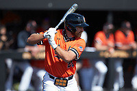 Matthew Christian (23) of the Campbell Camels at bat against the Dayton Flyers at Jim Perry Stadium on February 28, 2021 in Buies Creek, North Carolina. The Camels defeated the Flyers 11-2. (Brian Westerholt/Four Seam Images)