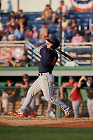 State College Spikes Matt Duce (8) bats during a NY-Penn League game against the Batavia Muckdogs on July 3, 2019 at Dwyer Stadium in Batavia, New York.  State College defeated Batavia 6-4.  (Mike Janes/Four Seam Images)