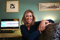 Jan. 5, 2015. Sorrento Valley,  CA. USA.|CEO of Endurance Sportswire Tina Wilmott works out of the Hera Hub in Sorrento Valley. |Photos by Jamie Scott Lytle. Copyright.