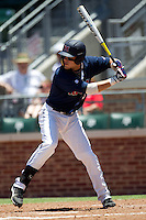 First baseman Matt Snyder #33 of the Ole Miss Rebels at bat during the NCAA Regional baseball game against the Texas Christian University Horned Frogs on June 1, 2012 at Blue Bell Park in College Station, Texas. Ole Miss defeated TCU 6-2. (Andrew Woolley/Four Seam Images).