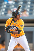Akron RubberDucks designated hitter Oscar Gonzalez (39) at bat on June 27, 2021 against the Erie SeaWolves at Canal Park in Akron, Ohio. (Andrew Woolley/Four Seam Images)