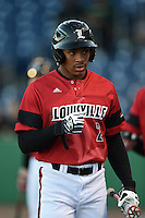 Louisville Cardinals outfielder Corey Ray (2) before a game against the USF Bulls on February 14, 2015 at Bright House Field in Clearwater, Florida.  Louisville defeated USF 7-3.  (Mike Janes/Four Seam Images)