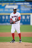 Potomac Nationals starting pitcher Wirkin Estevez (24) gets ready to deliver a pitch during the first game of a doubleheader against the Salem Red Sox on May 13, 2017 at G. Richard Pfitzner Stadium in Woodbridge, Virginia.  Potomac defeated Salem 6-0.  (Mike Janes/Four Seam Images)