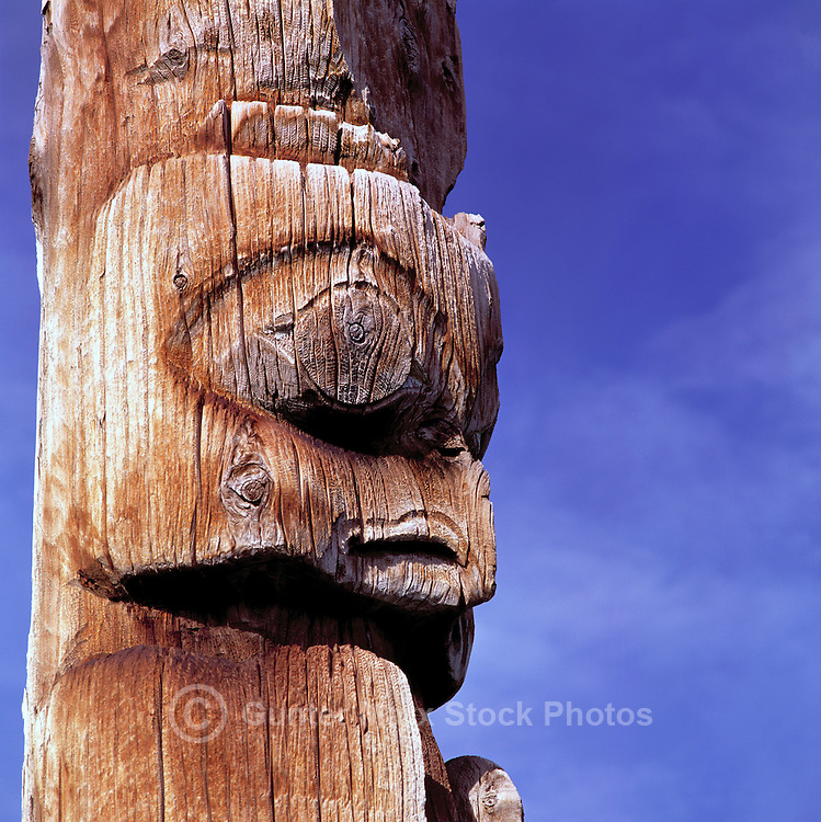 Close Up Detail of Gitxsan (Gitksan) Totem Pole, Kispiox, Northern British Columbia, Canada
