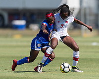 Bradenton, FL - Sunday, June 12, 2018: Danielle Etienne, Maya Antoine prior to a U-17 Women's Championship 3rd place match between Canada and Haiti at IMG Academy. Canada defeated Haiti 2-1.