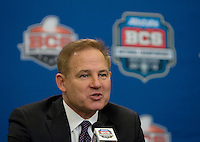 LSU Head Coach Les Miles talks with the reporters during BCS National Championship Head Coaches Press Conference at Marriott Hotel at the Convention Center at New Orleans, Louisiana on January 8th, 2012.