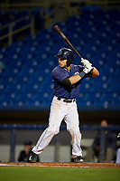 Lake County Captains catcher Joshua Rolette (27) at bat during the second game of a doubleheader against the South Bend Cubs on May 16, 2018 at Classic Park in Eastlake, Ohio.  Lake County defeated South Bend 5-2.  (Mike Janes/Four Seam Images)