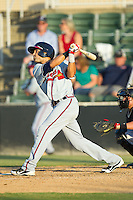 Dan Carroll (39) of the Rome Braves follows through on his swing against the Kannapolis Intimidators at CMC-Northeast Stadium on August 25, 2013 in Kannapolis, North Carolina.  The Intimidators defeated the Braves 9-0.  (Brian Westerholt/Four Seam Images)