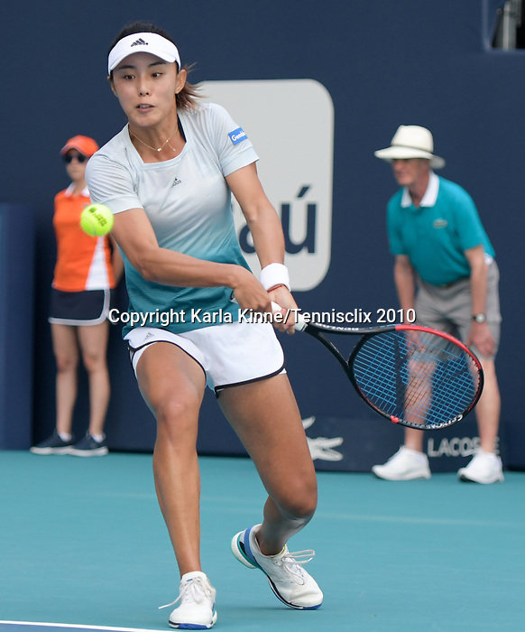 March 27, 2019: Qiang Wang (CHN) is defeated by Simona Halep (ROU) 4-6, 5-7, at the Miami Open being played at Hard Rock Stadium in Miami, Florida. ©Karla Kinne/Tennisclix 2010/CSM