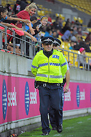 Police patrol during the Australian Rules Football ANZAC Day match between St Kilda Saints and Brisbane Lions at Westpac Stadium, Wellington, New Zealand on Friday, 25 April 2014. Photo: Dave Lintott / lintottphoto.co.nz