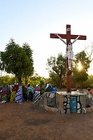 BURKINA FASO, Kaya, catholic church, cathedral, women praying rosary outside the church, christians are under pressure of increasing islamist attacks and insecurity, several villages were attacked already and peoples fled to Kaya / BURKINA FASO, Kaya, katholische Kirche, Frauen beten an der Kathedrale, Christen sind zunehmend von islamistischen Terrorattacken bedroht, mehrere umliegende Dörfer wurden bereits angegriffen und Menschen sind nach Kaya geflüchtet