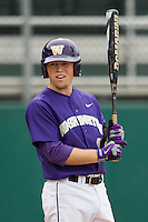 Washington Huskies second baseman Andrew Ely (41) at bat during the NCAA baseball game against the Michigan Wolverines on February 16, 2014 at Bobcat Ballpark in San Marcos, Texas. The game went eight innings, before travel curfew ended the contest in a 7-7 tie. (Andrew Woolley/Four Seam Images)