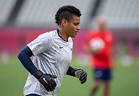 KASHIMA, JAPAN - AUGUST 2: Adrianna Franch #18 of the USWNT warms up before a game between Canada and USWNT at Kashima Soccer Stadium on August 2, 2021 in Kashima, Japan.
