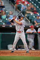 Syracuse Chiefs second baseman Stephen Perez (1) bats during a game against the Buffalo Bisons on June 30, 2017 at Coca-Cola Field in Buffalo, New York.  Syracuse defeated Buffalo 8-1.  (Mike Janes/Four Seam Images)