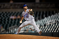 Tennessee Smokies relief pitcher Jake Stinnett (43) delivers a pitch during a game against the Birmingham Barons on August 16, 2018 at Regions FIeld in Birmingham, Alabama.  Tennessee defeated Birmingham 11-1.  (Mike Janes/Four Seam Images)