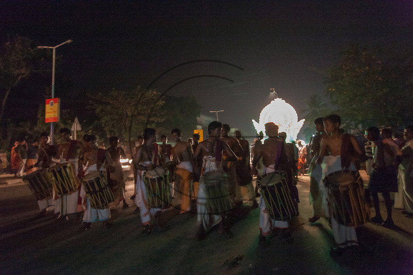 India,Kerala, street night procession for the ganesh festival