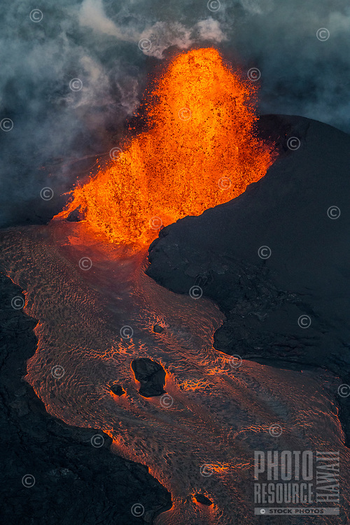 June 2018: Kilauea Volcano eruption, Leilani Estates, Puna, Big Island of Hawai'i.